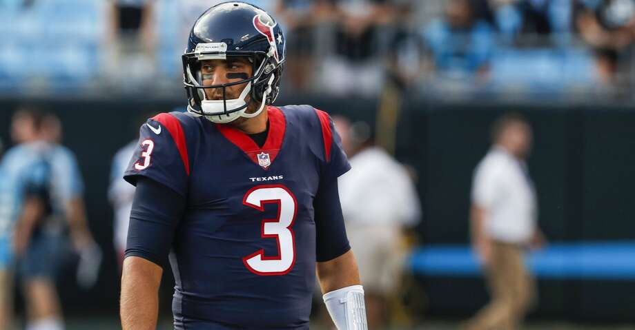 Houston Texans quarterback Tom Savage (3) warms up  before the Texans pre-season football game against the Carolina Panthers at Bank of America Stadium on Wednesday, Aug. 9, 2017, in Charlotte. ( Brett Coomer / Houston Chronicle ) Photo: Brett Coomer/Houston Chronicle