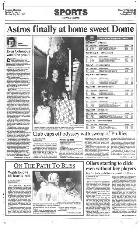The Aug. 24, 1992, sports section front page of the Houston Chronicle upon the conclusion of the Astros' 26-game road trip the previous day. A grinning Craig Biggio is pictured getting off the team plane at Hobby Airport. Photo: Houston Chronicle