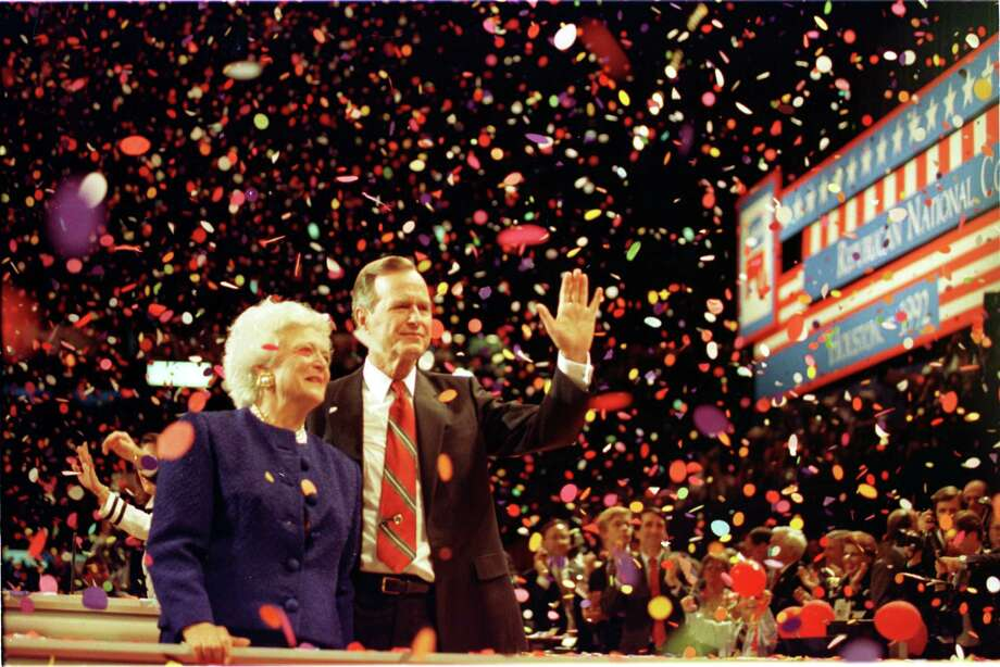 George H. W. Bush and Barbara Bush in 1992 at the Republican National Convention at the Astrodome. Photo: BUSTER DEAN, Staff / Houston Chronicle