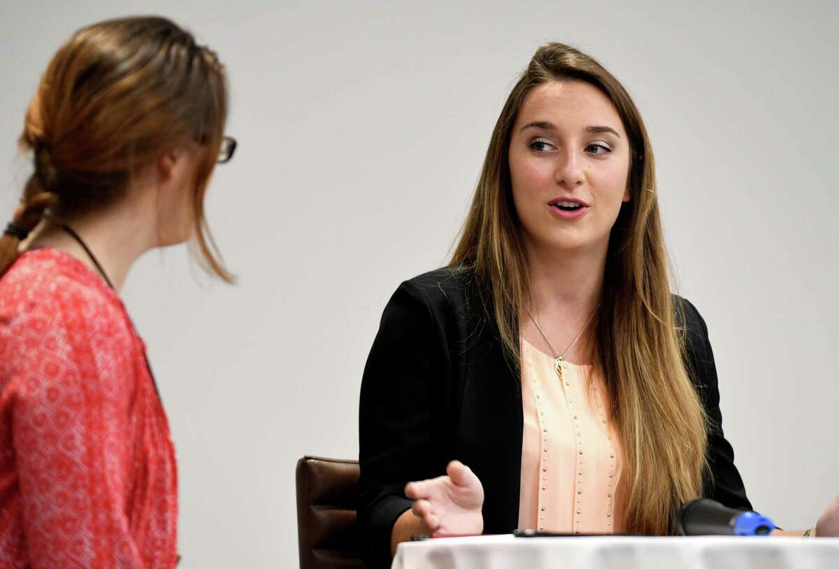 Ashley Loggins, a biotech production specialist at Regeneron Pharmaceuticals and Albany's 2017 Tulip Queen, right, is interviewed aby Sara Tracey during the August Women@Work Straight Talk breakfast on Wednesday, Aug. 9, 2017, at the Hearst Media Center in Colonie, N.Y. (Will Waldron/Times Union)