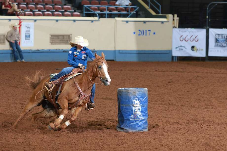 Jordan Driver, of Garden City, is shown here competing during the 2017 Built Ford Tough AQHYA World Championship Show in Oklahoma City on Tuesday. Driver captured the world title in barrel racing. Photo courtesy of the American Quarter Horse Association.