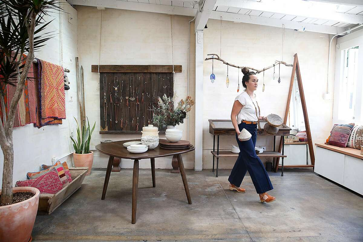 Jewelry designer Marisa Haskell of Marisa Mason Jewelry at her studio in Temescal Alley on Monday, July 24, 2017, in Oakland, Calif.
