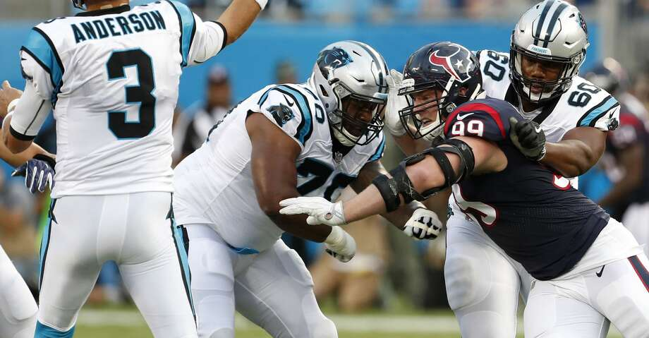 Houston Texans defensive end J.J. Watt (99) rushes Carolina Panthers quarterback Derek Anderson (3) during the first half of an NFL pre-season football game at Bank of America Stadium on Wednesday, Aug. 9, 2017, in Charlotte. ( Brett Coomer / Houston Chronicle ) Photo: Brett Coomer/Houston Chronicle
