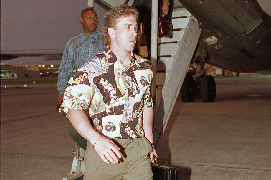 Jeff Bagwell departs the Astros' team plane Aug. 23, 1992, following the completion of a 26-games-in-28-days road trip forced by the Astrodome being occupied by the Republican National Convention during the summer of 1992. The journey yielded many memorable moments, on and off the field, and has been cited as a turning point in franchise history. Photo: Paul S. Howell/Houston Chronicle