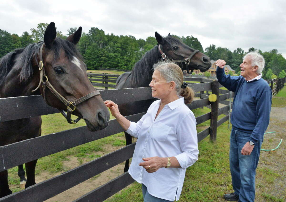 Suzanne and Peter Bobley with two of their retired thoroughbred race horses Luvacat, left, and Eye'm Distinction at one of the paddocks at their stable for retired thoroughbred race horses, 18 Karrot Farm, Thursday Sept. 11, 2014, in Schuylerville, NY. (John Carl D'Annibale / Times Union)