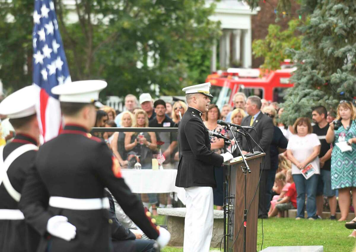 Comanding Officer, VMGR-452 LtCol. Jousha Izenour speaks to friends and family honoring Marine Maj. Caine Michael Goyette, during a memorial service at Soldiers & Sailors Memorial Park on Wednesday, Aug. 9, 2017, in Waterford, N.Y. Goyette was killed while on a U.S. military plane that crashed during a training mission in Mississippi. (Hans Pennink / Special to the Times Union) ORG XMIT: HP108