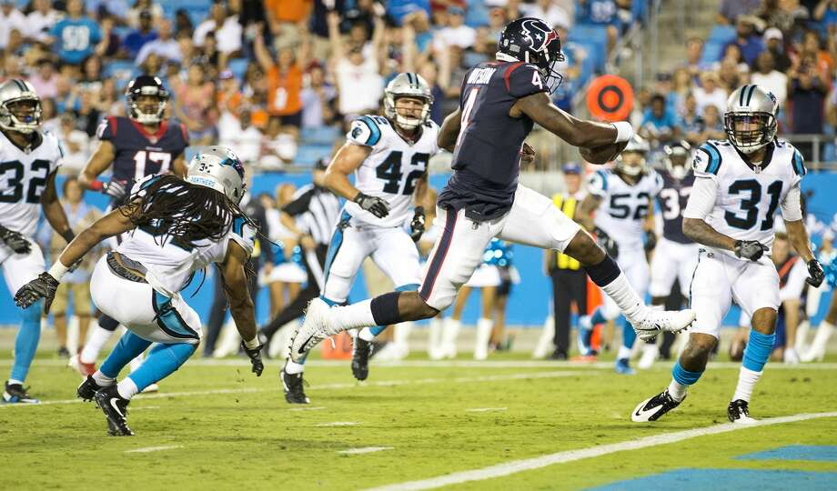 Houston Texans quarterback Deshaun Watson (4) leaps into the end zone for a 15-yard touchdown run against the Carolina Panthers during the third quarter of an NFL pre-season football game at Bank of America Stadium on Wednesday, Aug. 9, 2017, in Charlotte. ( Brett Coomer / Houston Chronicle ) Photo: Brett Coomer/Houston Chronicle