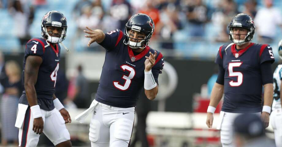 FIVE UP1. Tom SavageThe Texans' starting quarterback overcame a rough start triggered by breakdowns in pass protection. Savage got into a rhythm while operating a no-huddle attack, speeding up the offensive tempo. He stepped up in the pocket to deliver a strike to wide receiver Jaelen Strong for an 18-yard completion. Photo: Brett Coomer/Houston Chronicle