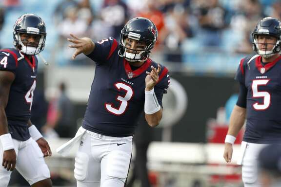 Houston Texans quarterback Tom Savage (3) throws the football before the Texans pre-season football game against the Carolina Panthers at Bank of America Stadium on Wednesday, Aug. 9, 2017, in Charlotte. ( Brett Coomer / Houston Chronicle )