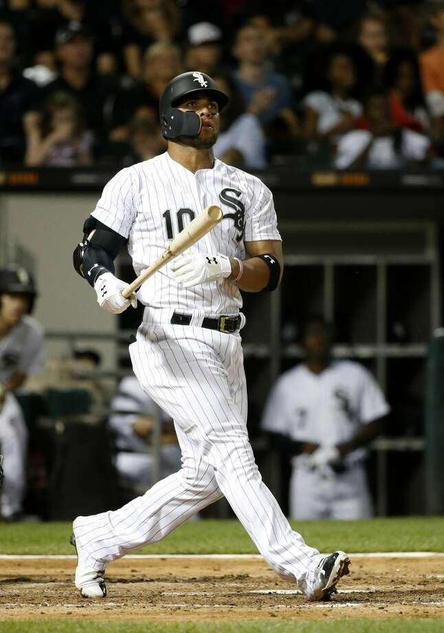 Chicago White Sox's Yoan Moncada watches his deep fly ball hook foul during the fourth inning of a baseball game against the Houston Astros Wednesday, Aug. 9, 2017, in Chicago. (AP Photo/Charles Rex Arbogast) Photo: Charles Rex Arbogast/Associated Press