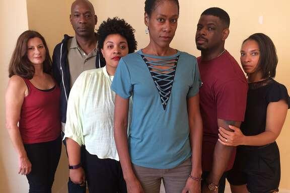 "From left: Sally Dana, Adrian Roberts, Indiia Wilmott, Atim Udoffia, Khary Moye and Nia Fairweather in San Francisco Playhouse's ""Zenith."""