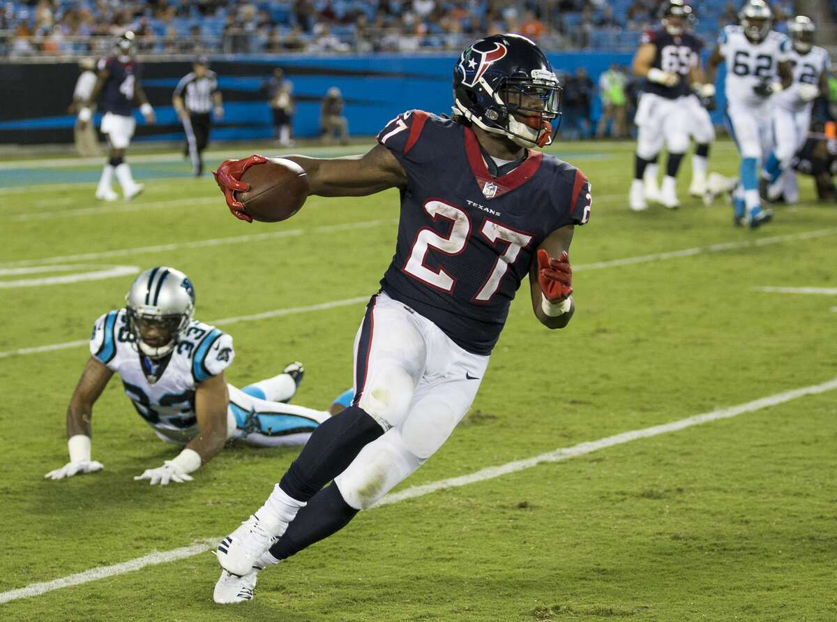 FIVE UP 3. Running backs Running backs D'Onta Foreman and Alfred Blue are waging a battle for the backup job behind starter Lamar Miller. Both players made strong arguments for why they should be in the mix for increased playing time. Foreman hurdled over a defender in the open field and rushed for 76 yards on nine carries, including a 41-yard run. Blue ran hard and scored on a 16-yard run. he finished with 33 yards on five carries.