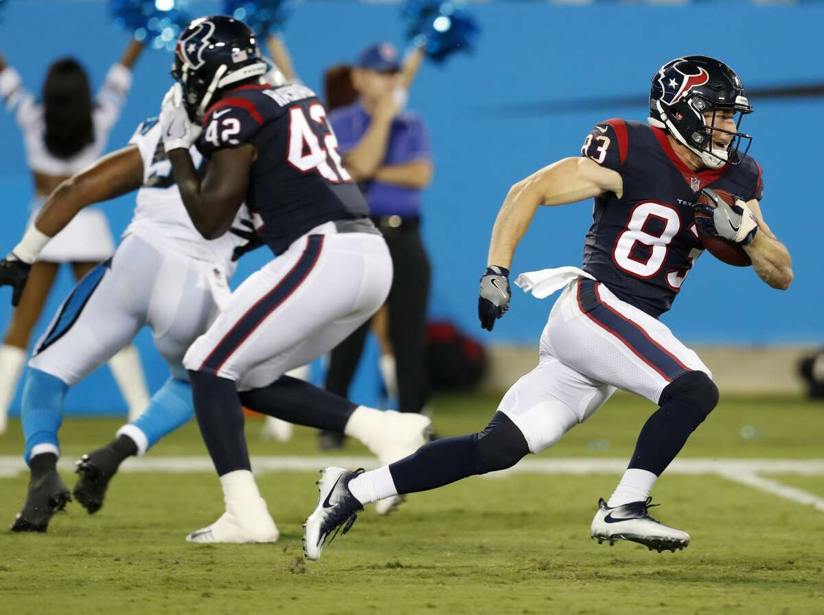 Houston Texans wide receiver Riley McCarron (83) returns a kick against the Carolina Panthers during the fourth quarter of an NFL pre-season football game at Bank of America Stadium on Wednesday, Aug. 9, 2017, in Charlotte. ( Brett Coomer / Houston Chronicle )
