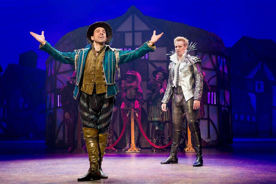 """From left: Rob McClure, Adam Pascal and the cast of the """"Something Rotten!"""" national tour at SHN. Photo: Jeremy Daniel, SHN"""