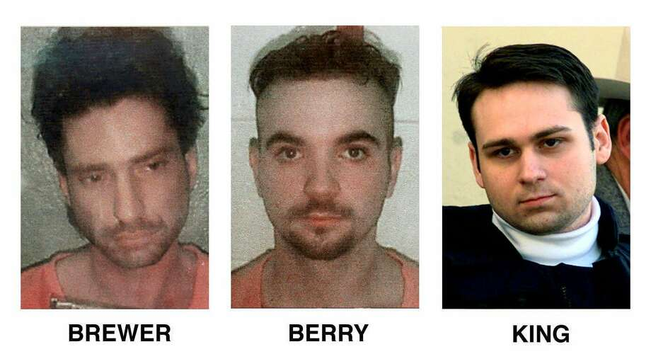 Three suspects in the slaying of James Byrd Jr., in Jasper, Texas, on June 7, 1998, are shown in file photos. From left, are: Lawrence Russell Brewer, 31, of Sulphur Springs, Texas; Shawn Berry, 24, of Jasper; and John William King, 24, of Jasper.  / AP