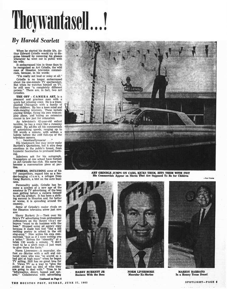 Houston Post inside page - June 27, 1965 - Spotlight section, page 5. Theywantasell ...! (TV car salesmen) Photo: HP Staff / Houston Chronicle