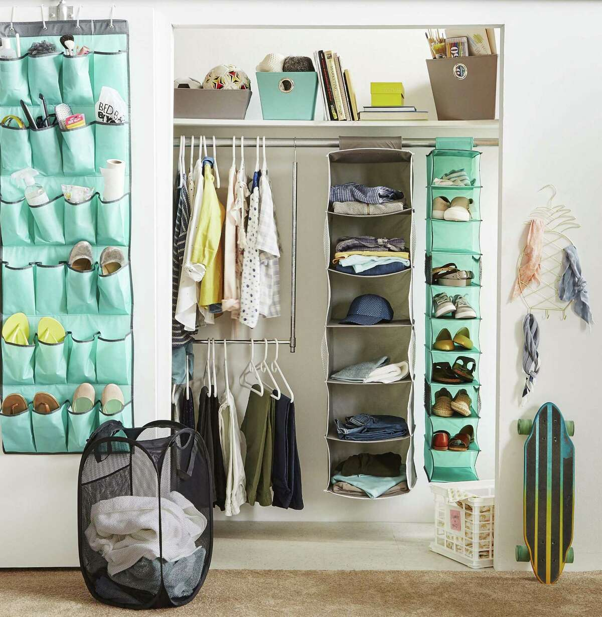 Every college dorm closet is different, but organizers will ensure that everything fits. Consider hanging organizers for shoes or clothes. Studio 3B's 10-shelf shoe organizer, $14.99, or 6-shelf sweater organizer; Bed, Bath & Beyond