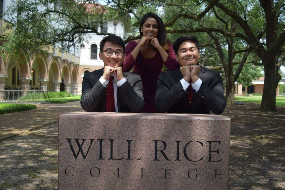 Rice University students, from left, Carey Wang, Tanvi Varadhachary and Thuc Truong are coordinators of the school's O-Week, a week of freshman orientation events to acclimate new students. Wang urges students to learn as much as they can in their classes, but to learn more about themselves, too. Freshman year is about getting out of your comfort zone and trying new things, he says. Photo: Courtesy Photo
