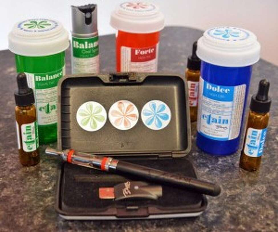 Products on display at Etain's Albany medical marijuana dispensary. (John Carl D'Annibale / Times Union archive)