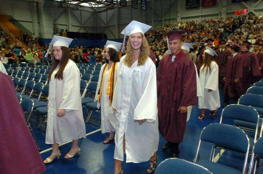 Students and family attend the Bethel High School graduation at the O'Neill Center on Western Connecticut State University's campus in Danbury, June 15, 2010. Photo: Chris Ware / The News-Times