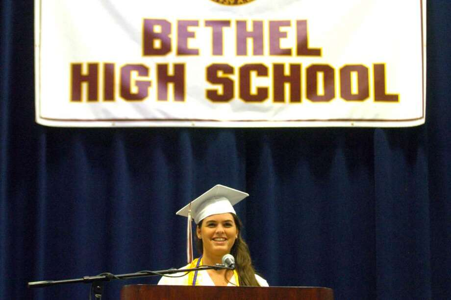 Isabelle Miner, Bethel High School class president, speaks to the graduation class, family and friends at the Bethel High School graduation at the O'Neill Center on Western Connecticut State University's campus in Danbury, June 16, 2010. Photo: Chris Ware / The News-Times