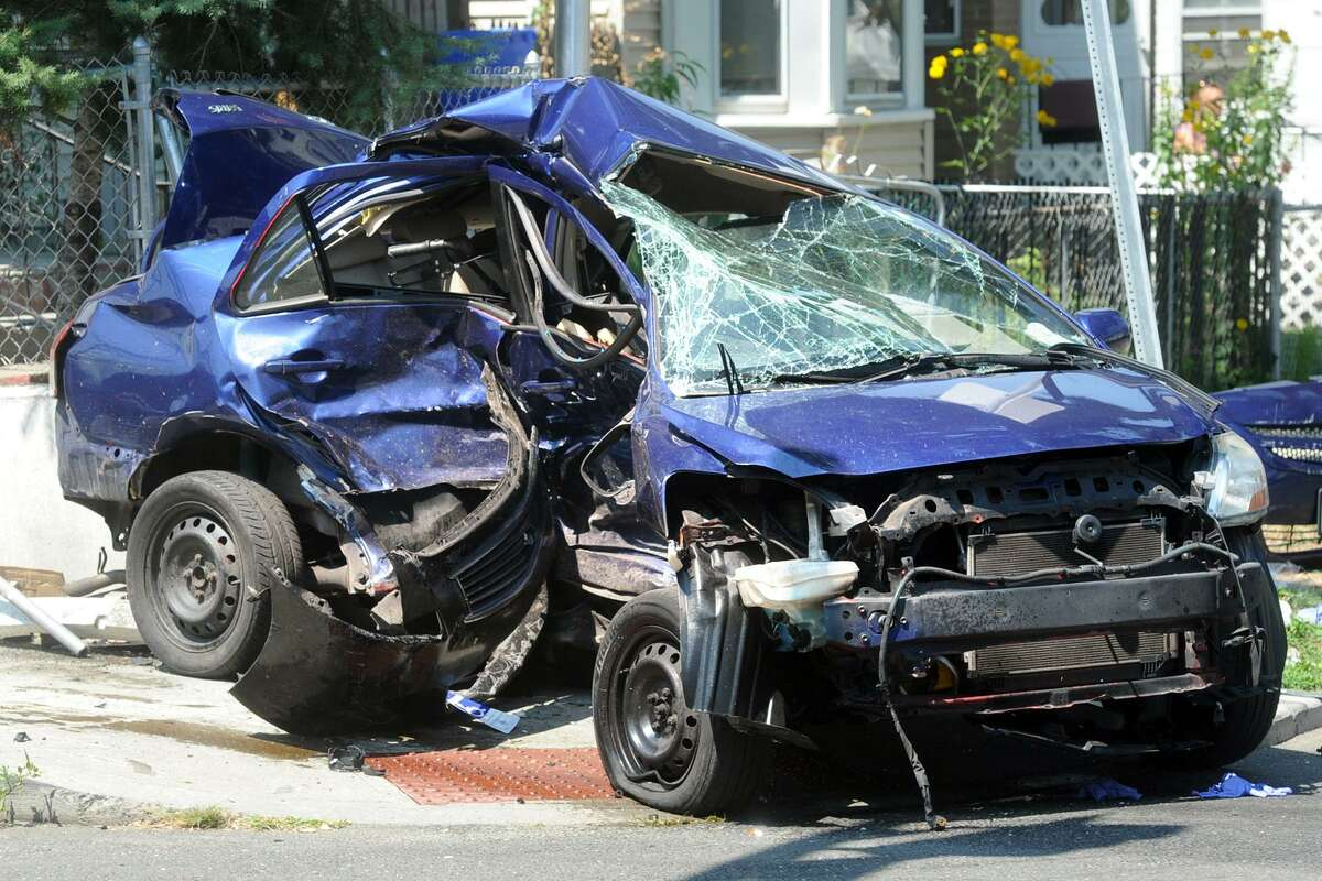 The wreckage of a Toyota that was struck by another vehicle in Bridgeport on Thursday.