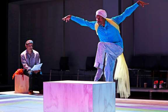 """Rashad Pridgen (right) and Sean San Jose during rehearsal of Campo Santo & The Global Street Dance Masquerade's """"Ethos de Masquerade"""" performance piece at The Strand Theater in San Francisco, Calif. on Wednesday, August 9, 2017."""