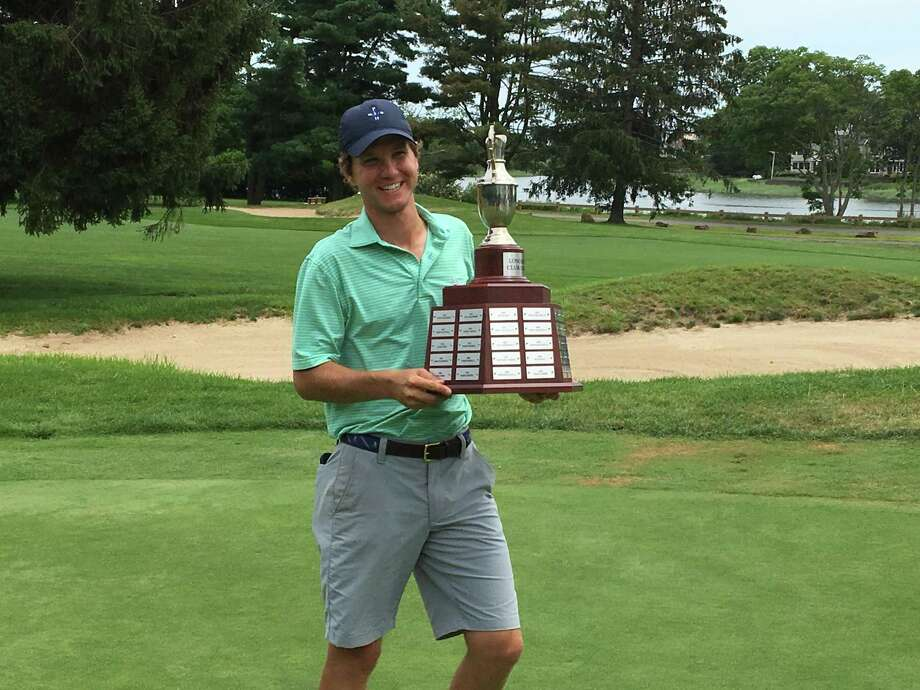 Westport native and Staples graduate Chris Meinke hoists up the LMGA Club trophy after winning the tournament in a 36-hole final over former champion Mike Durkin. Photo: Contributed Photo