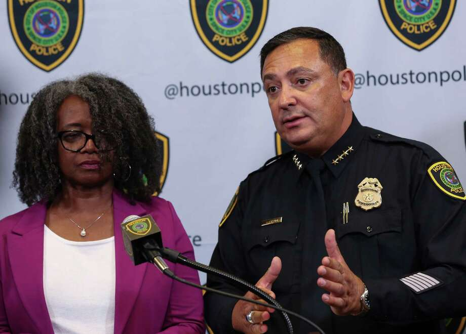 Houston Police Chief Art Acevedo talks about officer Rashad Carter who was struck by a drunk driver while at the scene of a vehicle crash on Highway 59 during a press conference at the Houston Police Department Edward A. Thomas Building Thursday, Aug. 10, 2017, in Houston. Photo: Godofredo A. Vasquez / Houston Chronicle