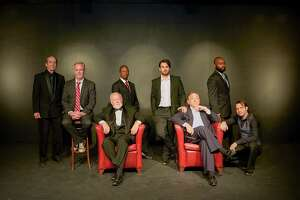 """The men of Classic Theatre's production of """"You Can't Take It With You"""" — John O'Neill (from left), Andrew Thornton, Allan S. Ross, Vincent Hardy, Hunter Wulff, Byrd Bonner, Justin Keown and Steven Starr — strike a pose before a rehearsal."""