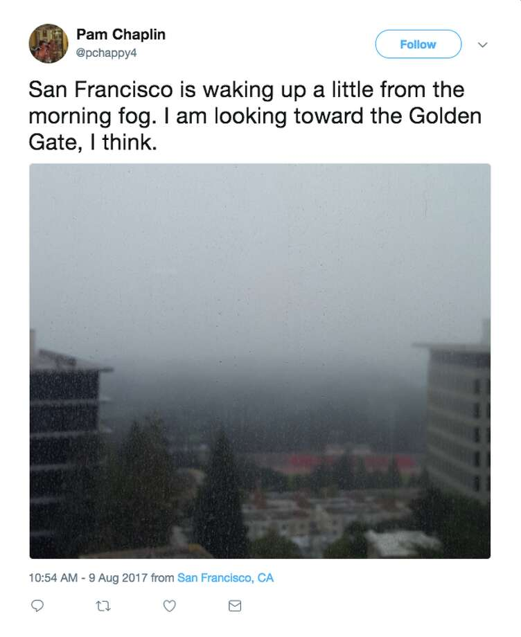 Twitter users shared photos of the San Francisco fog this week. Photo: @pchappy4/Twitter