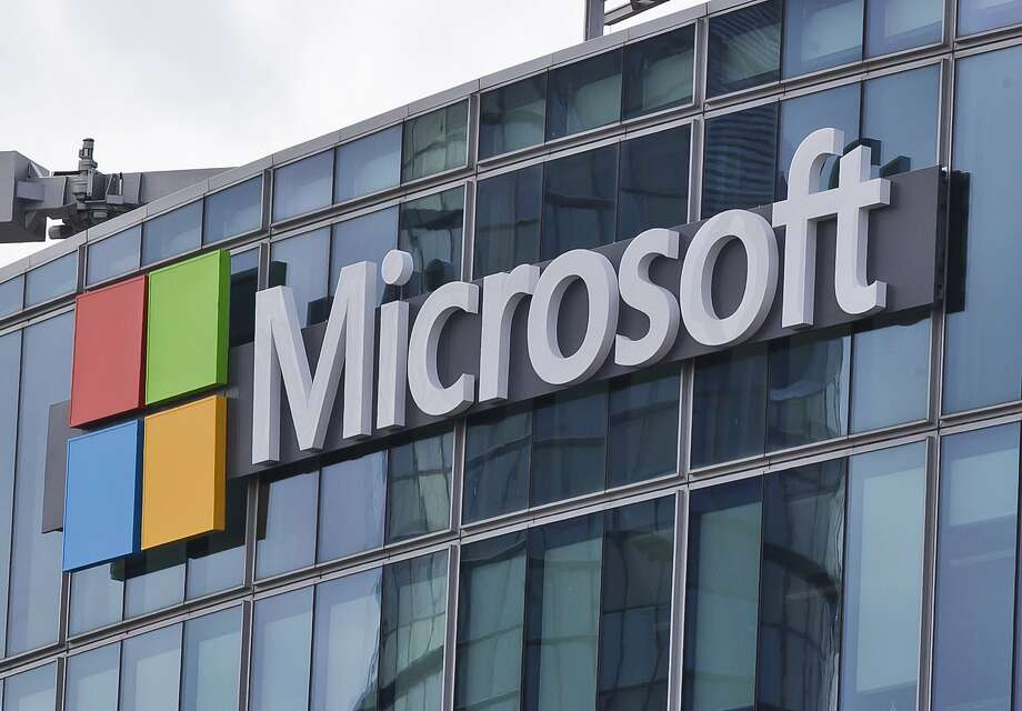 FILE - This April 12, 2016, file photo shows the Microsoft logo in Issy-les-Moulineaux, outside Paris, France. (AP Photo/Michel Euler, File) Photo: Michel Euler, Associated Press