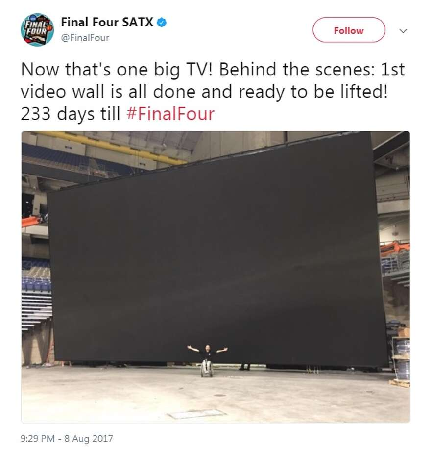 """Now that's one big TV! Behind the scenes: 1st video wall is all done and ready to be lifted! 233 days till #FinalFour,"" @FinalFour."