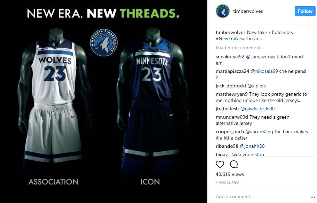 JERSEYS GOT WORSE Minnesota Timberwolves The Timberwolves went bold and did a complete overhaul. The lettering is slick, but those stripes across the top are hard to get over. And, of course, the Fitbit logo doesn't help. Also, where is green that usually is incorporated somewhere in the Minnesota jersey?