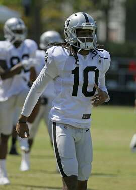 Oakland Raiders wide receiver Seth Roberts during an NFL football training camp Tuesday, Aug. 8, 2017, in Napa, Calif. (AP Photo/Eric Risberg)