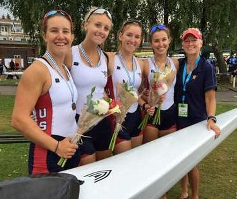 Ridgefield's Kaitlyn Kynast, second from left, earned a bronze medal at the Junior World Championships, held last weekend in Trakai, Lithuania. Photo: Contributed / Photo