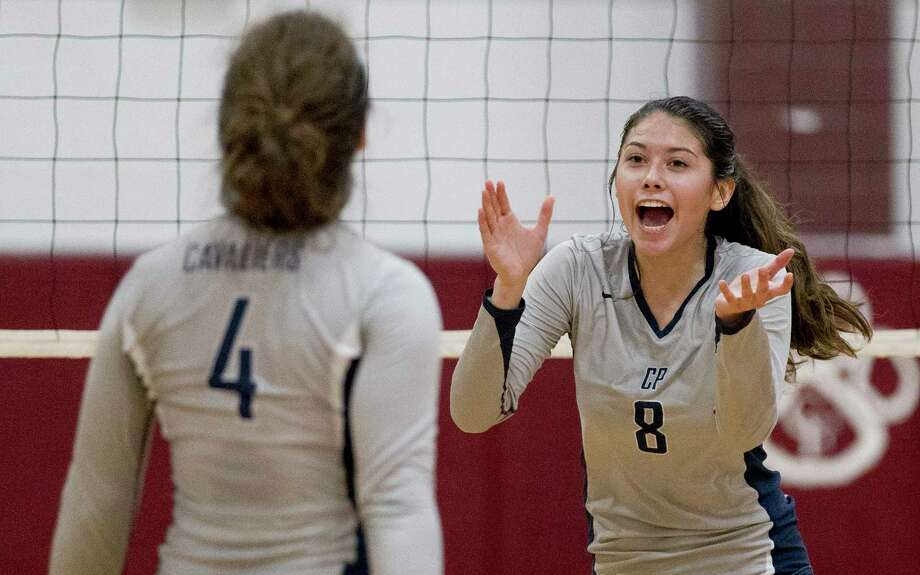 College Park's Kamryn Hernandez (8) celebrates a point during a match in the Katy/Cy-Fair Nike Invitational, Thursday, Aug. 10, 2017, in Cypress. Photo: Jason Fochtman, Staff Photographer / © 2017 Houston Chronicle