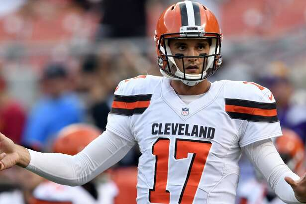 Cleveland Browns quarterback Brock Osweiler warms up before an NFL preseason football game against the New Orleans Saints, Thursday, Aug. 10, 2017, in Cleveland. (AP Photo/David Richard)
