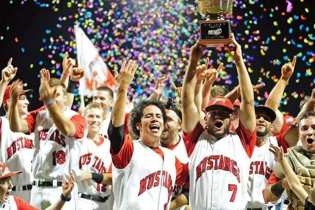 TAMIU's Erasmo Gonzalez Jr., Osvaldo Raya and Eleazar Rojas helped the St. Joseph Mustangs win the M.I.N.K. league championship.