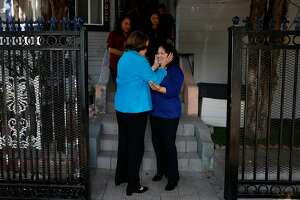 Senator Dianne Feinstein, left, says good bye to Maria Mendoza-Sanchez after meeting with Mendoza-Sanchez and her family at the Sanchez home about their deportation order August 10, 2017 in Oakland, Calif.