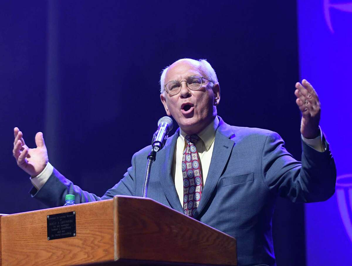 Congressman Paul Tonko gives his remarks during the opening ceremony of the Maccabi Games at the Times Union Center on Sunday, Aug. 6, 2017, in Albany, N.Y. (Hans Pennink / Special to the Times Union) ORG XMIT: HP123
