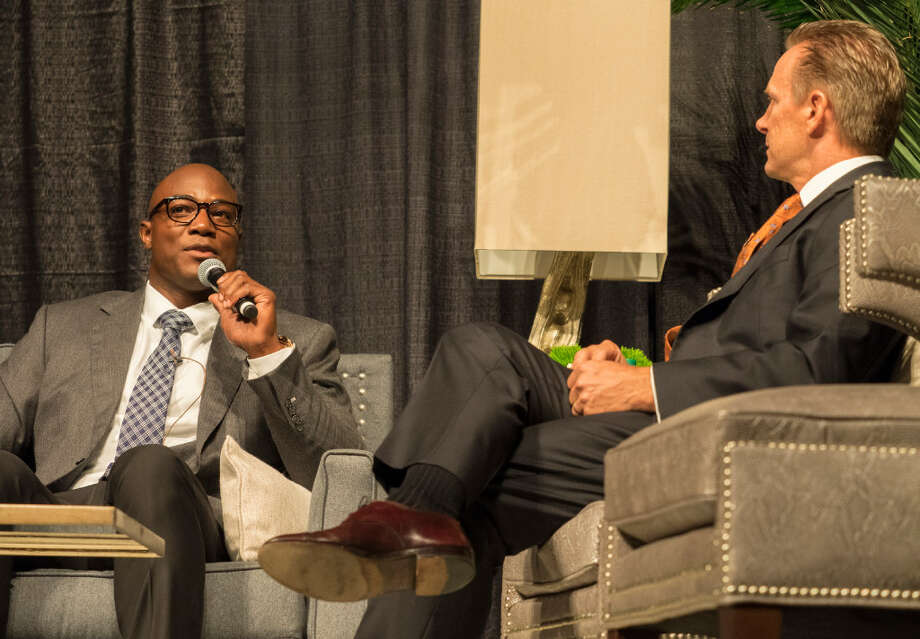 Former NFL player DeMarcus Ware sits down 8/10/17 evening to talk football, adoption and life with Pastor Patrick Payton at the 17th annual Centers benefit dinner. Tim Fischer/Reporter-Telegram