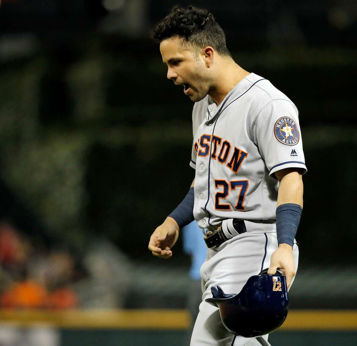 CHICAGO, IL - AUGUST 10: Jose Altuve #27 of the Houston Astros reacts after grounding into a double play against the Chicago White Sox to end the fifth inning at Guaranteed Rate Field on August 10, 2017 in Chicago, Illinois. The Chicago White Sox won 3-2 in eleventh inning. (Photo by Jon Durr/Getty Images)