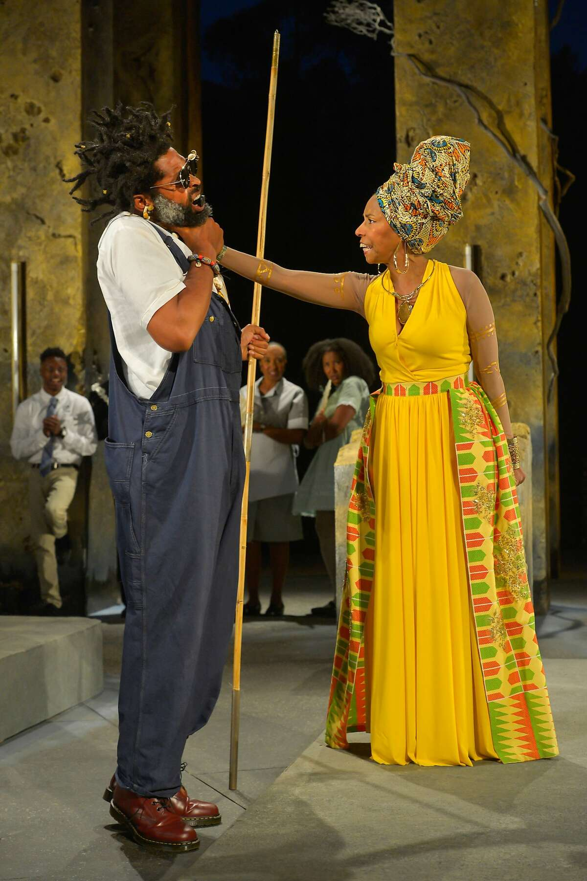 Foreground from left: Aldo Billingslea as Great Grand Paw Sidin and Margo Hall as Great Aunt Tina; rear: Michael Curry, Dawn L. Troupe and Safiya Fredericks in California Shakespeare Theater's