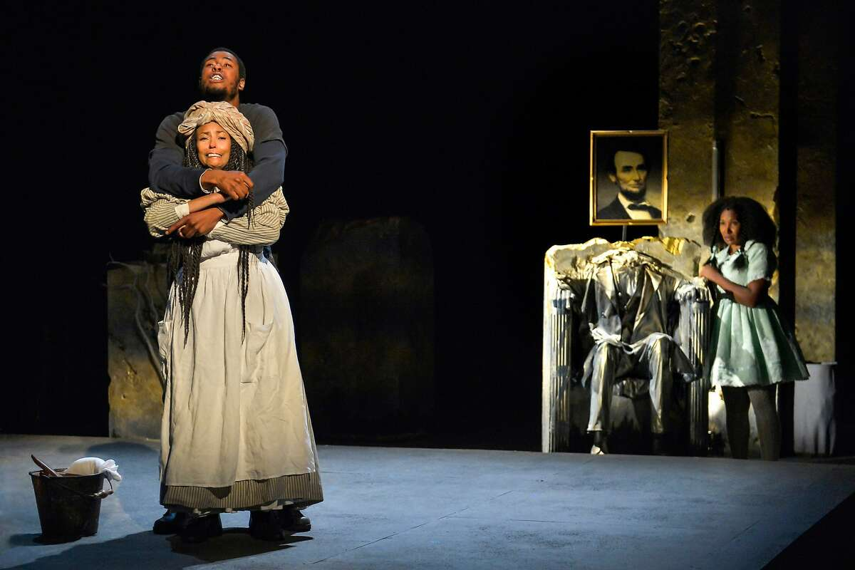 From left:�J. Alphonse Nicholson as Ulysses Lincoln, Margo Hall as Calypso and Safiya Fredericks as Benevolence Nausicca Sabine in California Shakespeare Theater's