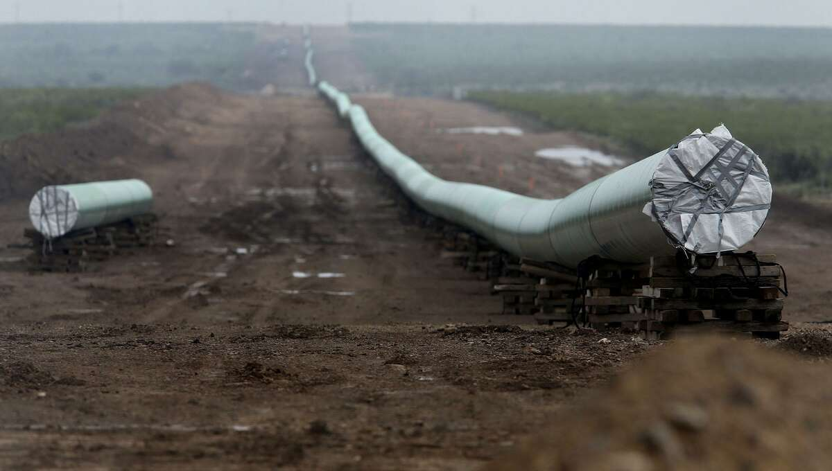 A 42-inch natural gas pipeline under construction in West Texas in 2016. Plains All American was denied a steel tariff exemption on a new 550 mile crude oil pipeline that will run from Permian Basin to Corpus Christi.