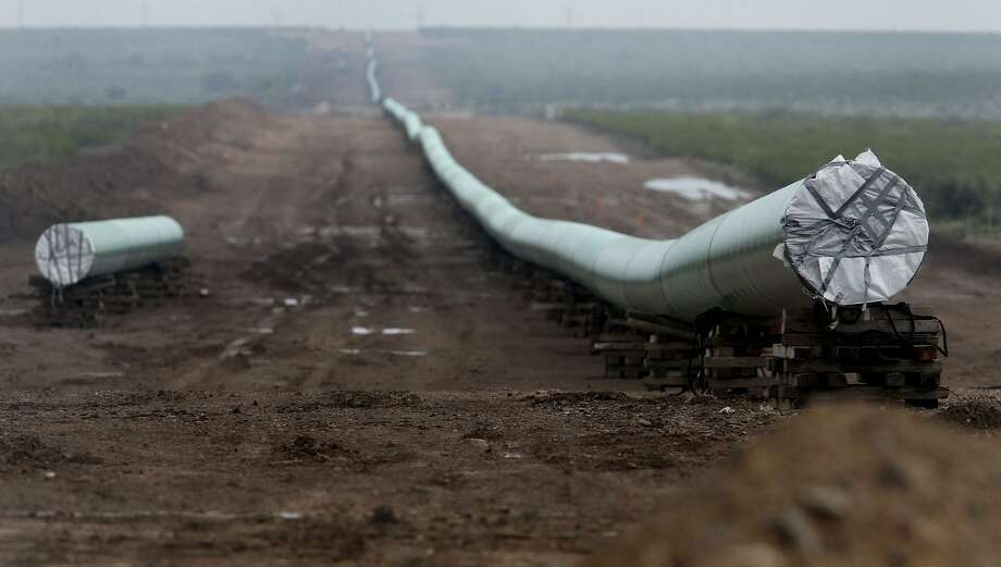 A 42-inch natural gas pipeline under construction in West Texas in 2016.  Plains All American was denied a steel tariff exemption on a new 550 mile crude oil pipeline that will run from Permian Basin to Corpus Christi. Photo: John Davenport /San Antonio Express-News / ©San Antonio Express-News/John Davenport