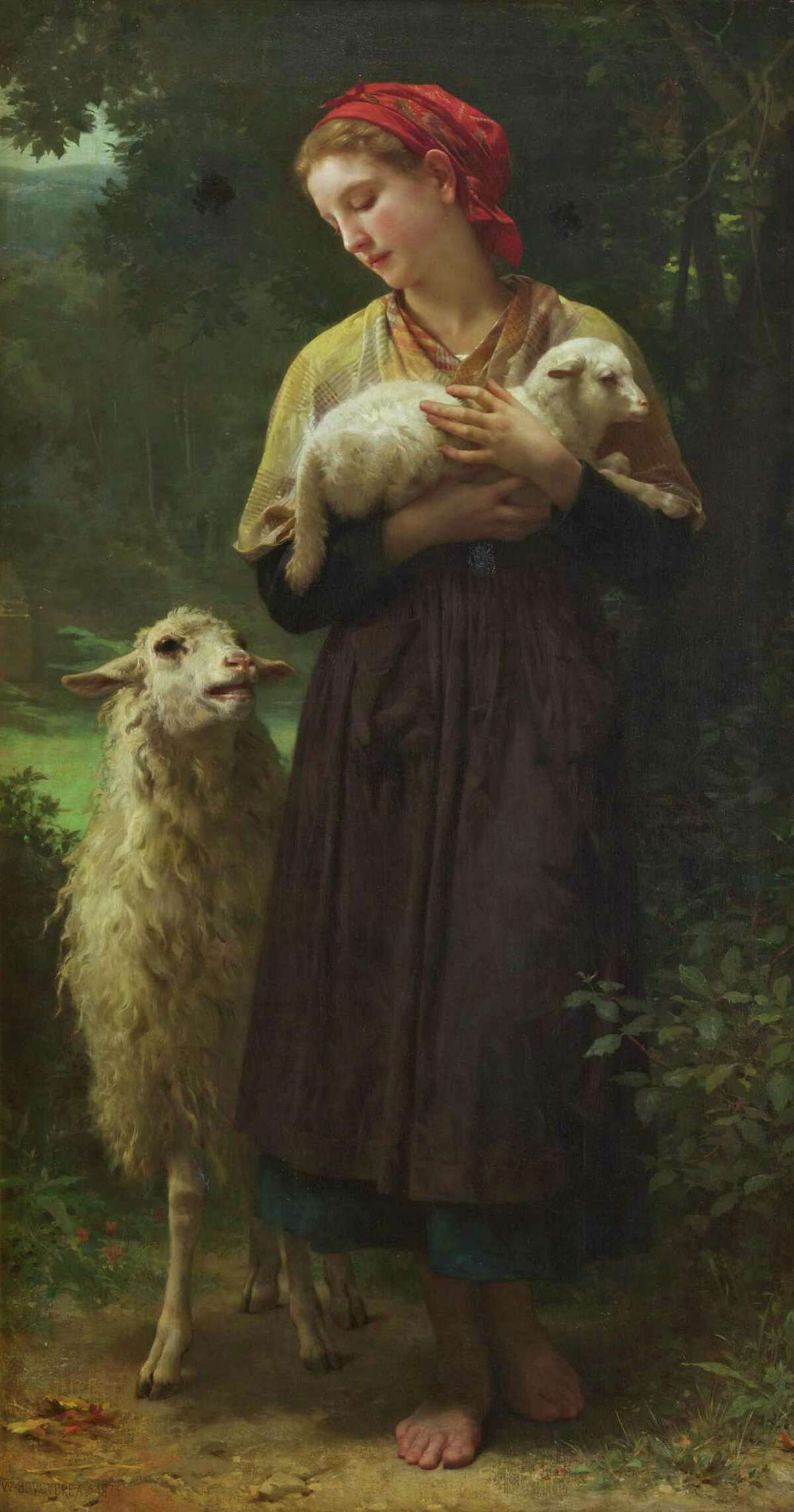"""WILLIAM-ADOLPHE BOUGUEREAU L'Agneau nouveau-né 1873 Oil on canvas Courtesy Berkshire Museum It is one of the 40 works the museum will be auctioning in part to fund a $60 million """"reinvention plan."""""""
