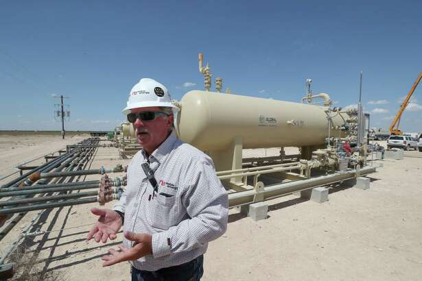 """Out in an area like this, trying to get trucks down these roads, it'd tear them to pieces, and tear up the roads, too,"" said Russ True, Permian Basin manager for Noble Midstream Partners.  ""… I'm glad we took those trucks off the road."""
