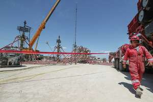 Noble Energy three wellhead fracking operation        Monday, June 26, 2017, in Pecos.  ( Steve Gonzales  / Houston Chronicle )